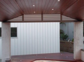 Gable- Glosswood lined patio with spa surround decking Morley
